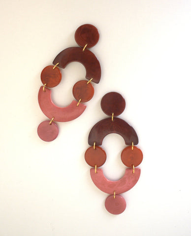 Dejan Earring by Shicato. Handcrafted in Ecuador. Lightweight statement drop earrings in a subtle ombre, made from hand cut Tagua. Color pink red. 100% tagua.