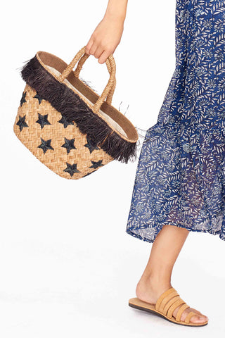 Stellar Embroidered Raffia Tote