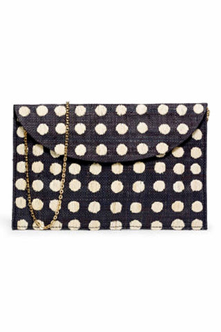 Tulum Embroidered Black Dot Clutch