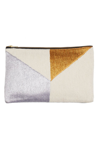 Tribeca Embroidered Metallic & Leather Clutch