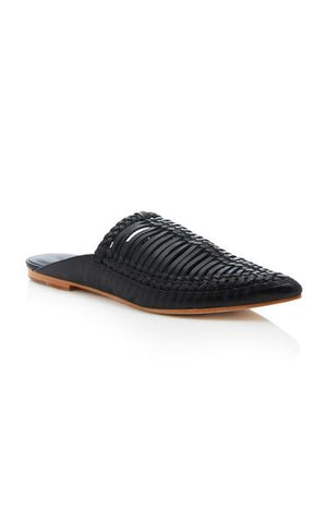 Ulla Johnson Spring 2018 Jana Babouche in Noir. Traditional Moroccan babouche. Hand-braided leather, pointed toe, slight heel. Inspired by Serbian Opanci. Pointed toe mule. Rubber heel patch at leather sole. Color Black. 100% Leather. Sizes 36 37 38 39.