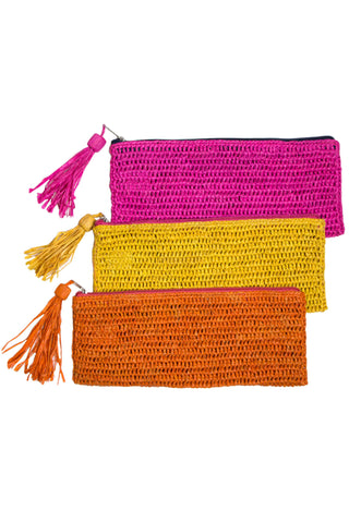 "Emily Crocheted Raffia Clutch by Mar y Sol. Available in Natural Yellow Orange Teal Pink Navy. This zip pouch is the answer to all things accessory. Ideal for phones, makeup, pens and pencils or just as a catch all, be sure to order before they are gone. Available in six different colors. 100% crocheted raffia Zip closure and raffia tassel 10"" W, 4"" H Handmade in Madagascar"