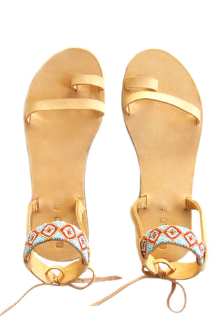 Penda Beaded Nubuck Leather Sandal