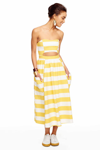 Dovetail Yellow Stripe Cut Out Midi Dress
