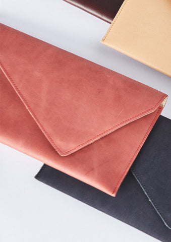 Luisa Scarlet Leather Clutch