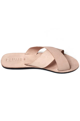 Criss Cross Blush Leather Sandals