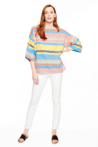 Proud Mary Huipile Top in Kingston Stripe. Lightweight loose fitting top. Boxy and loose. 3/4 length sleeves. Round crew neck. Measures 25 inches from shoulder to hem. Color multi blue stripe. 100% cotton. One size fits most.