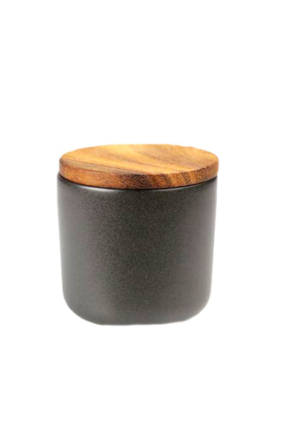 Acacia Small Black Stoneware Container