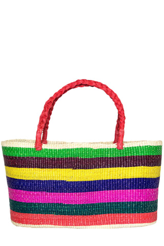 Multicolor Woven Straw Stripe Tote