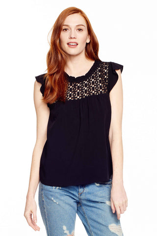 Mara Frill Sleeve Black Lace Top