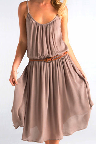 Tiber Nutmeg Strappy Midi Dress