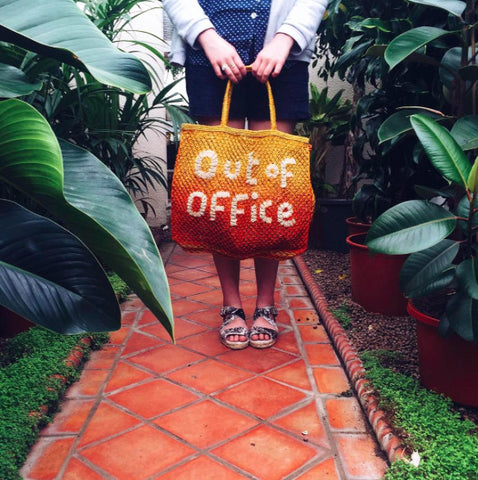 """Out of Office"" Pink & Orange Tote"