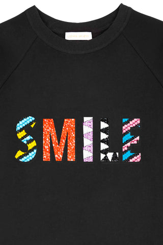 SMILE Black Beaded Sweatshirt
