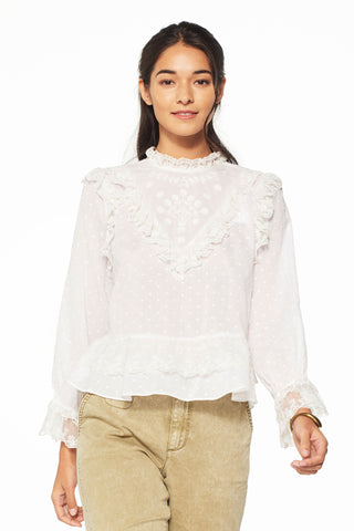 Noemie Embroidered Swiss Dot Blouse