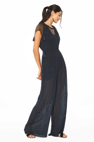 Tallis Striped Cotton Gauze Jumpsuit