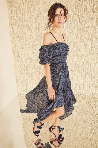 Ulla Johnson Spring 2018 Jessa Dress. Vine floral printed cotton dress. Crinkle cotton with intricate picot edging, off-shoulder ruffle sleeve, tonal straps, handkerchief hem, gathered waist. floral printed cotton dress featuring intricate picot edging and off-shoulder ruffle sleeves. Tonal straps. Handkerchief hem. Gathered waist. Size 4 measures 27 inches from shoulder to hem. Color Midnight. 100% Cotton. Sizes 0 2 4 6 8.