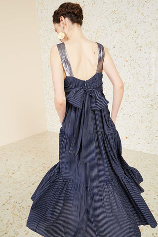 "Ulla Johnson Pre-Fall 2018 Bess Dress in Midnight. Striped shirting and lurex midi dress. Contrast lurex straps, tiered prairie skirt, square neck, back zipper, generous silhouette, lined skirt. Large bow at back. Size 4 measures 43"" from shoulder to hem. Color navy pinstripe. 100% Cotton. Handmade in India. Sizes 2 4 6 8."