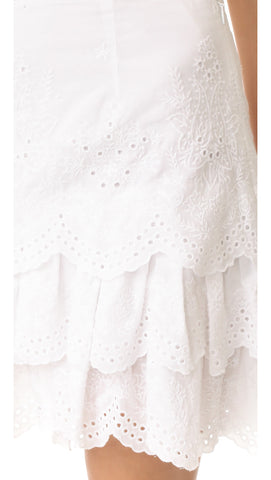 Daria Blanc Embroidered Bandana Eyelet Skirt