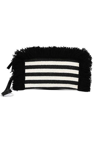 "Valerie Fringe Clutch by JADETribe in pink and black. Nautical stripe textile wristlet clutch with fringe detail. Ultra suede lining and interior zip pocket. Available in black and pink. MeasurementsApproximately 10"" L x 5"" H"