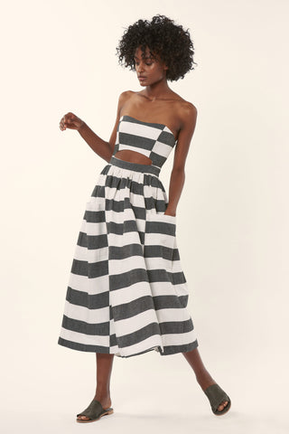 Dovetail B&W Stripe Cut Out Midi Dress
