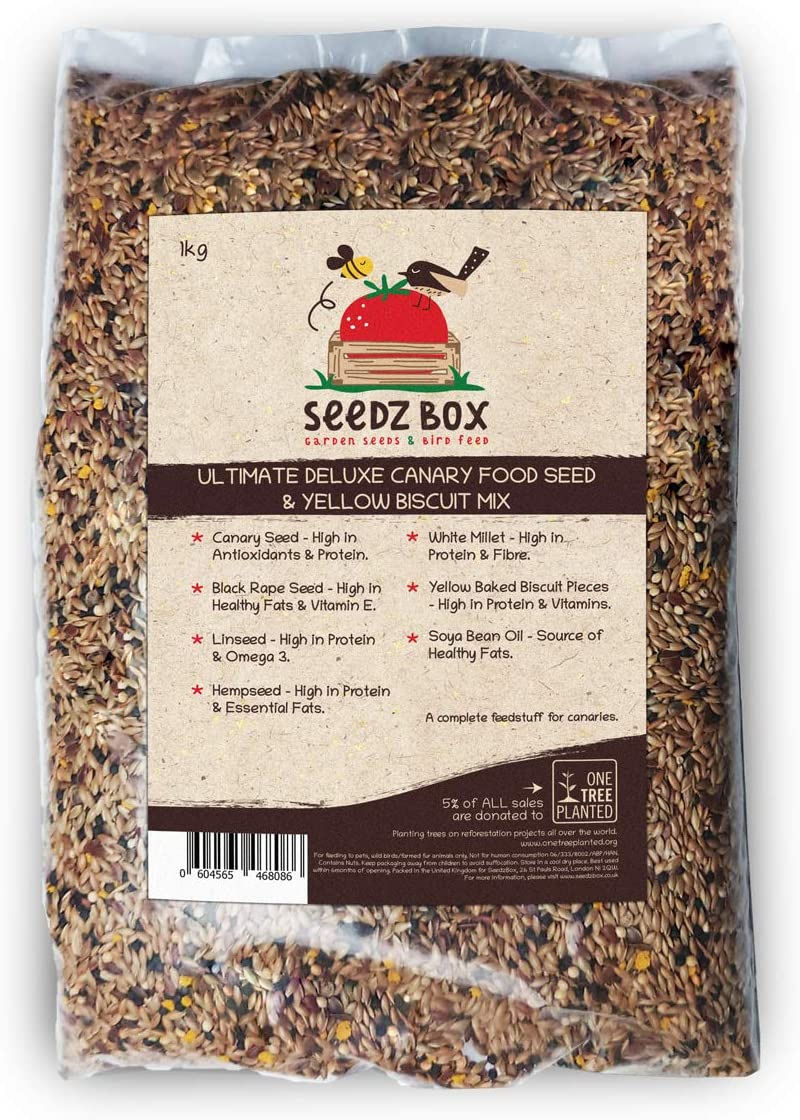 Seedzbox Ultimate Deluxe Canary Bird Food Seed & Nut Mix, 1kg.