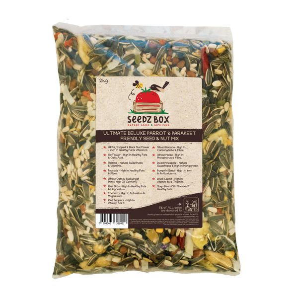 Seedzbox Ultimate Deluxe Parrot & Parakeet Feed Seed & Nut Mix 2kg - 5% of Sales donated to OneTreePlanted