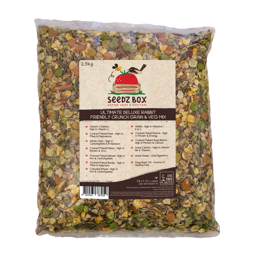 Seedzbox Ultimate Deluxe Rabbit Crunchy Grain & Veg Feed Mix 2.5kg - 5% of Sales donated to OneTreePlanted.