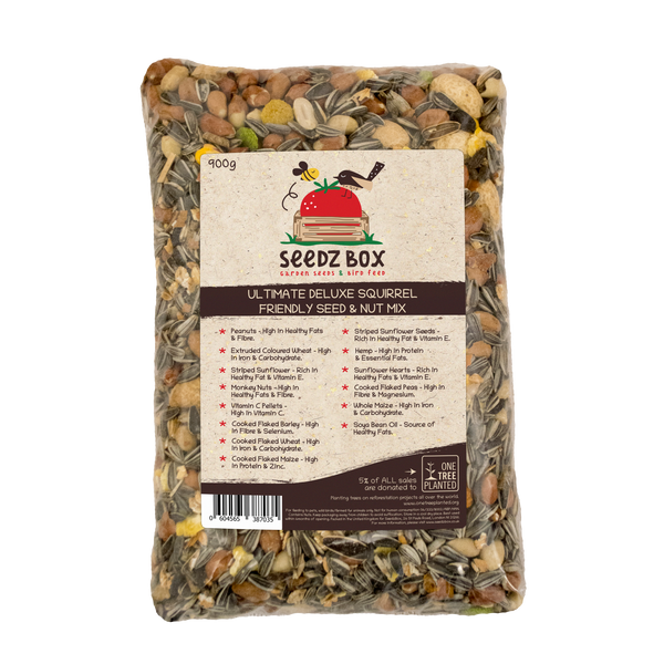 Seedzbox Ultimate Deluxe Squirrel Feed Seed & Nut Mix 900g - 5% of Sales donated to OneTreePlanted.