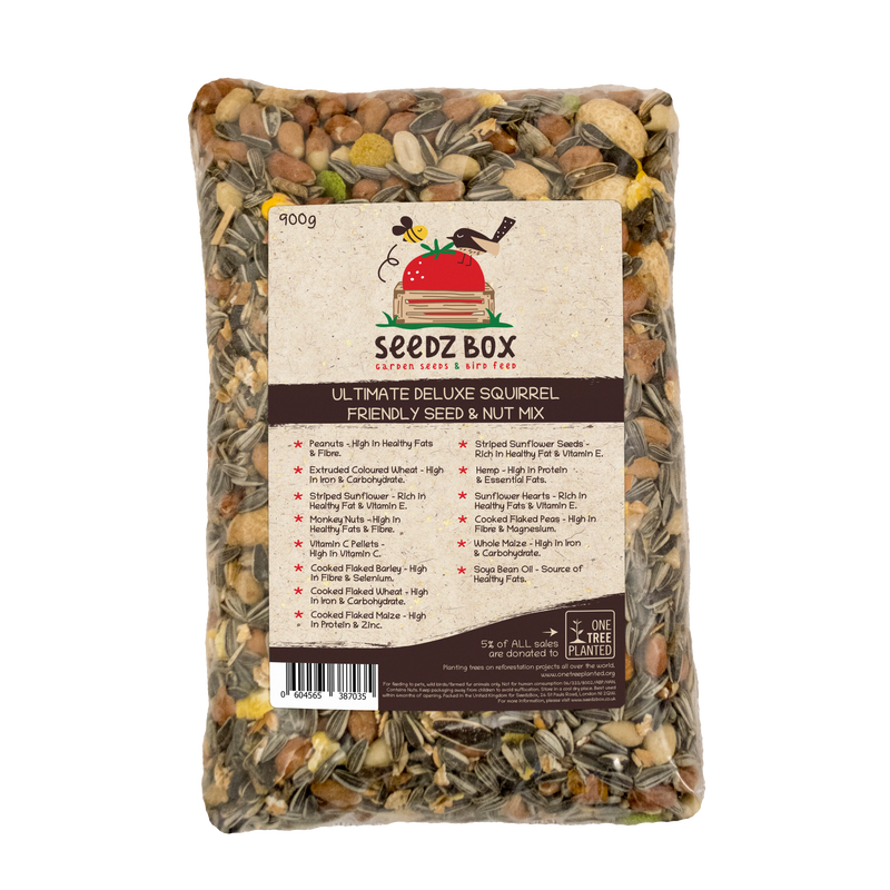 Seedzbox Ultimate Deluxe Squirrel Feed Seed & Nut Mix 900g - 5% of Sales donated to OneTreePlanted