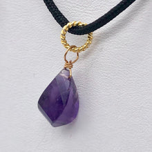 "Load image into Gallery viewer, AAA Amethyst Faceted Twist Briolette Pendant | 12.5x8mm, 1"" Long 