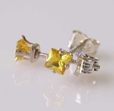 Princess 3mm Created Yellow topaz & 925 Sterling Silver Stud Earrings 10152K - PremiumBead
