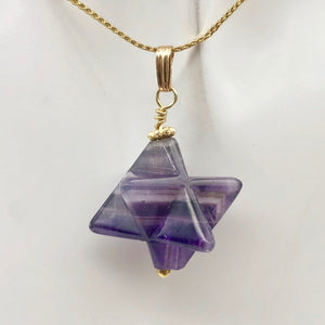 Kabbalah Carved Amethyst Merkaba Star and 14K Gold Filled Pendant 509288AMG - PremiumBead