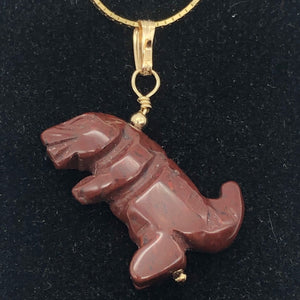 Red Jasper T- Rex Pendant Necklace|Semi Precious Stone Jewelry| 14k gf Pendant | - PremiumBead Alternate Image 5