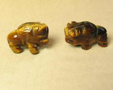 Blessing 2 Tiger's Eye Hand Carved Bison / Buffalo Beads | 21x14x8mm | Golden Brown - PremiumBead