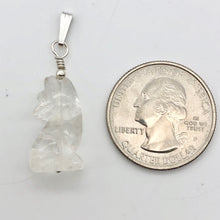 Load image into Gallery viewer, New Moon! Clear Quartz Wolf 925 Sterling Silver Pendant