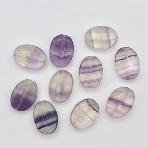 Striped Orchids 10 Natural Fluorite Beads - PremiumBead