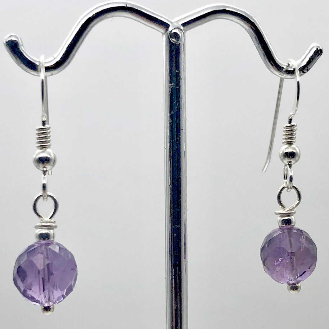 Royal Natural Untreated 8mm Faceted Amethyst Solid Sterling Silver Earrings - PremiumBead Primary Image 1
