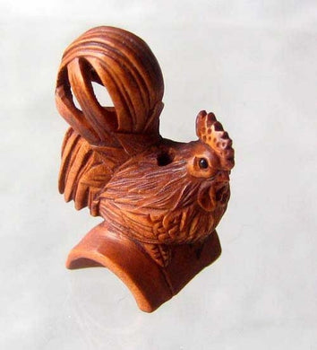 Rise & Shine Carved Boxwood Rooster Ojime/Netsuke Bead | 31x20x16mm | Brown - PremiumBead