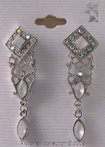 ! Shimmer! Silvertone & White Crystal Fashion Earrings 10079C - PremiumBead Primary Image 1