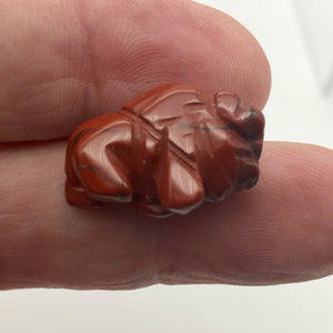 Abundance 2 Brecciated Jasper Hand Carved Bison / Buffalo Beads | 21x14x8mm | Red - PremiumBead