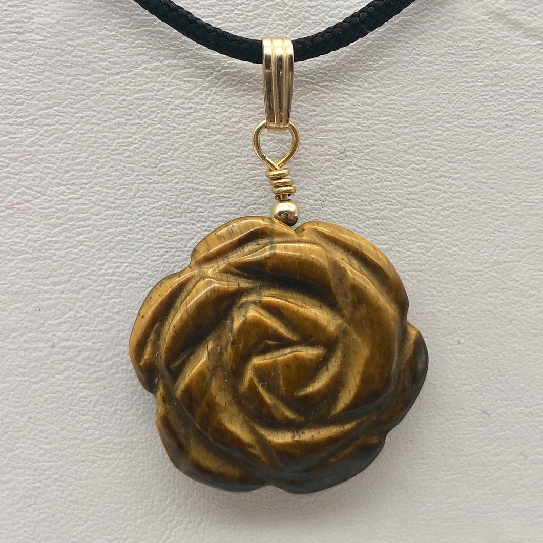 Hand Carved Tigereye Rose Flower 14K Gold Filled Pendant | 1.5