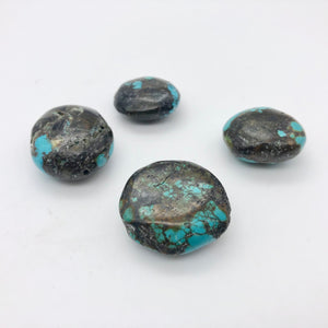 4 Genuine Natural Turquoise Nugget Beads | 245.4 cts | Blue/Black | 4 Beads - PremiumBead