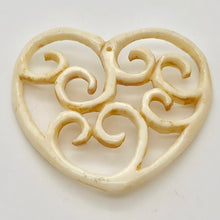 Load image into Gallery viewer, Delicate Carved Waterbuffalo Bone Heart Bead 10744 - PremiumBead