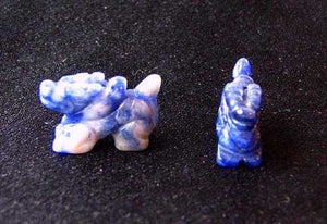 Wild 2 Sodalite Hand Carved Winged Dragon Beads | 21x14x9mm | Blue white - PremiumBead
