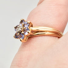 Load image into Gallery viewer, Tanzanite & Diamond Solid 10Kt Yellow Gold Flower Ring Size 7 9982F - PremiumBead Alternate Image 9