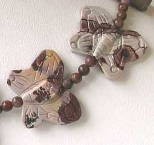 Carved 2 Apache Jasper Butterfly Beads | 30x23x7mm | Grey and brown - PremiumBead