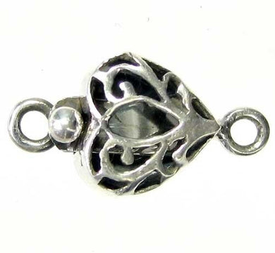 Romance 1 Sterling Silver Flowering Heart Clasp 7909 - PremiumBead
