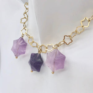 Natural Fluorite & 22K Vermeil Star 18 inch Necklace 209245Fl - PremiumBead Alternate Image 3