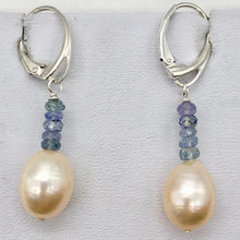 Load image into Gallery viewer, AAA Natural Pink 14x10mm Pearl and Blue Sapphires Solid Sterling Silver Earrings - PremiumBead Primary Image 1