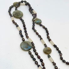 Load image into Gallery viewer, Elegant Black-Cherry FW Pearl Labradorite 27 inch Necklace 200021 - PremiumBead Alternate Image 2
